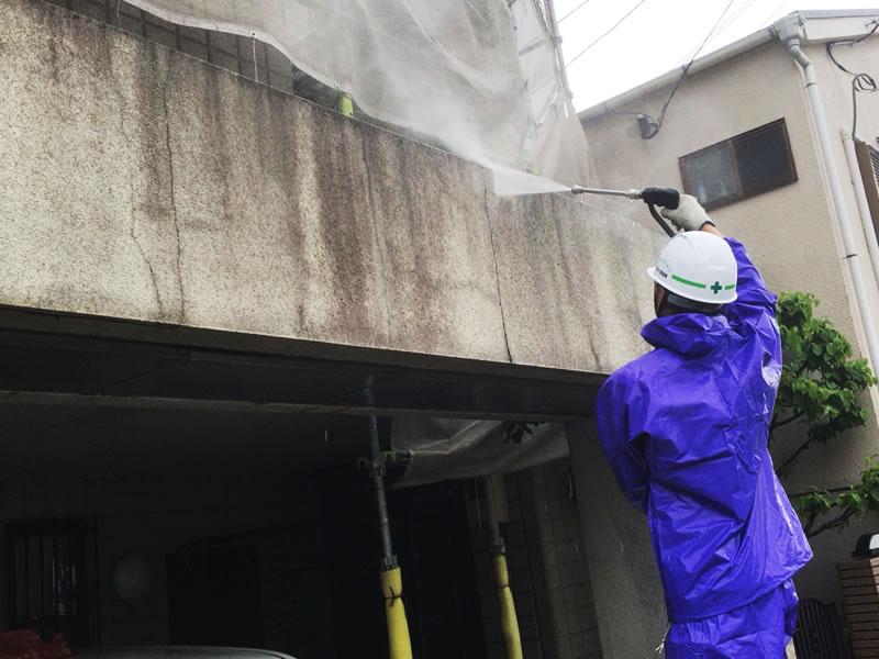 ガレージ壁面洗浄